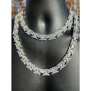 HarlemBling 925 Sterling Silver Flooded Link Chain